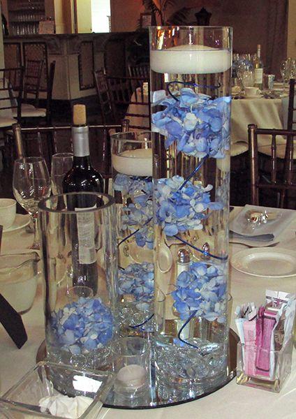 Blue Hydrangea Trio Vase Centerpeice