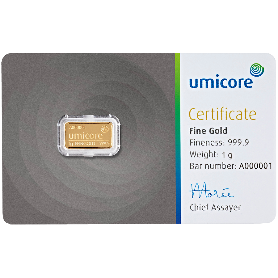 Umicore 1g Stamped Gold Bar In Assay Gold Bar Gold Bullion Bars Gold Bars For Sale