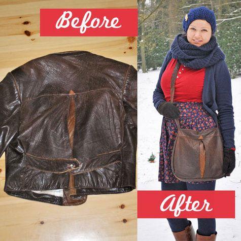 leatherjacket into leatherbag refashion