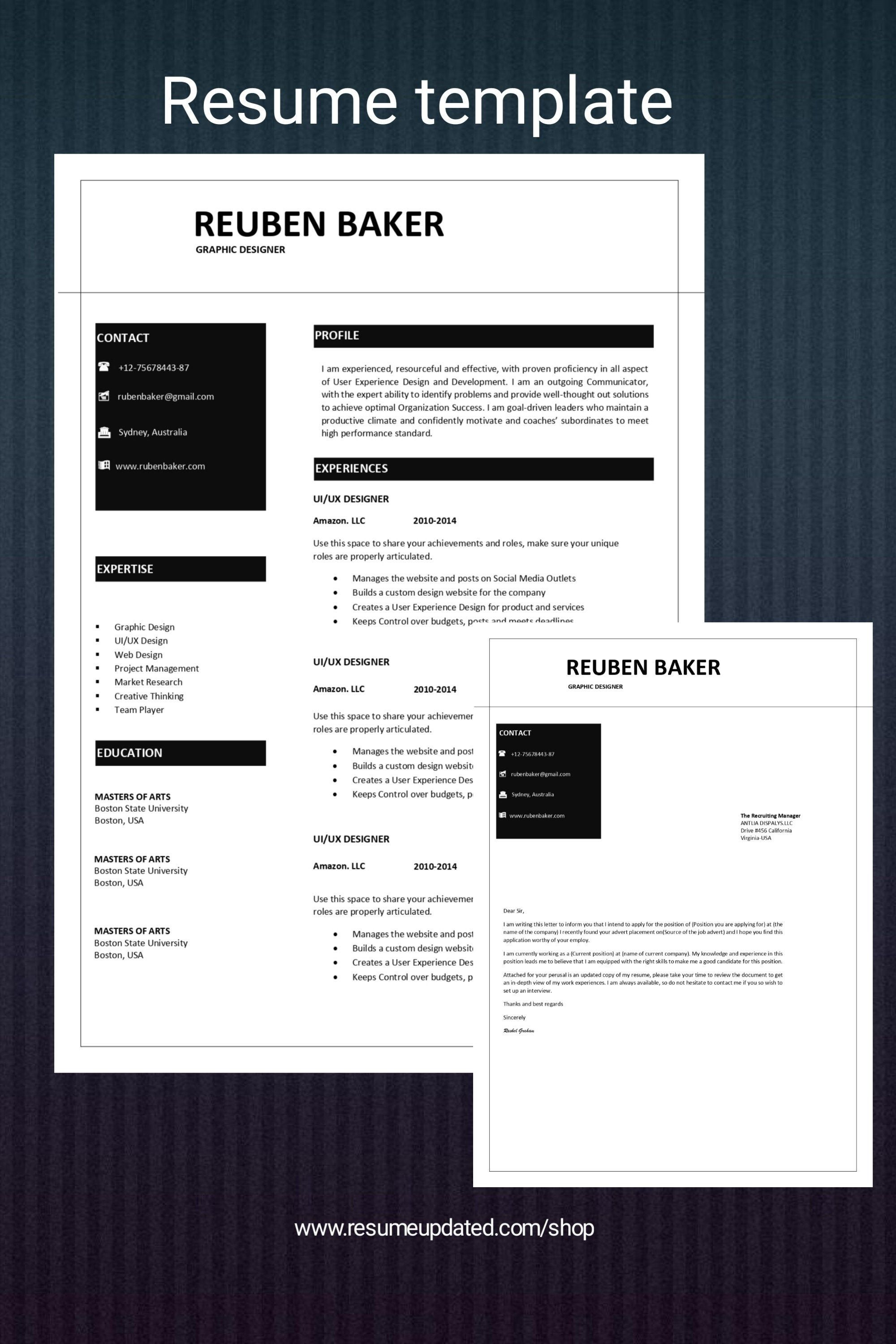 1 Page Resume Cover Letter Cover Letter Cv Design Etsy In 2021 Cover Letter For Resume Cover Letter Resume Template