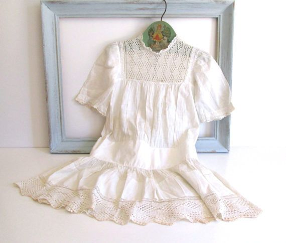 Antique Handmade Baby Dress 1905 White Lace by RollingHillsVintage