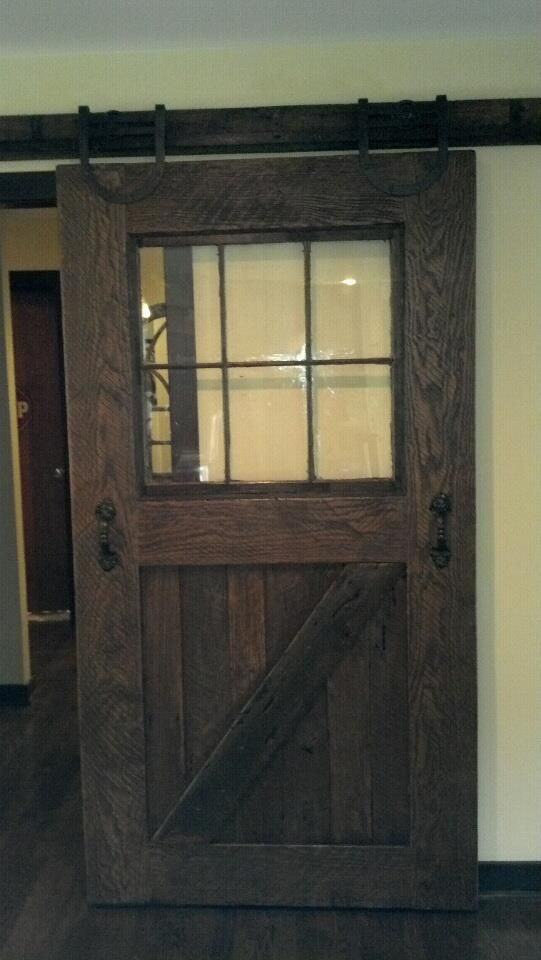 Door We Built And Installed In Leawood Ks Home Frame Is 2x8 Oak From Barn Built 120 Years Ago Even Though The Door Weighs Roller Doors Barn Door Track Door