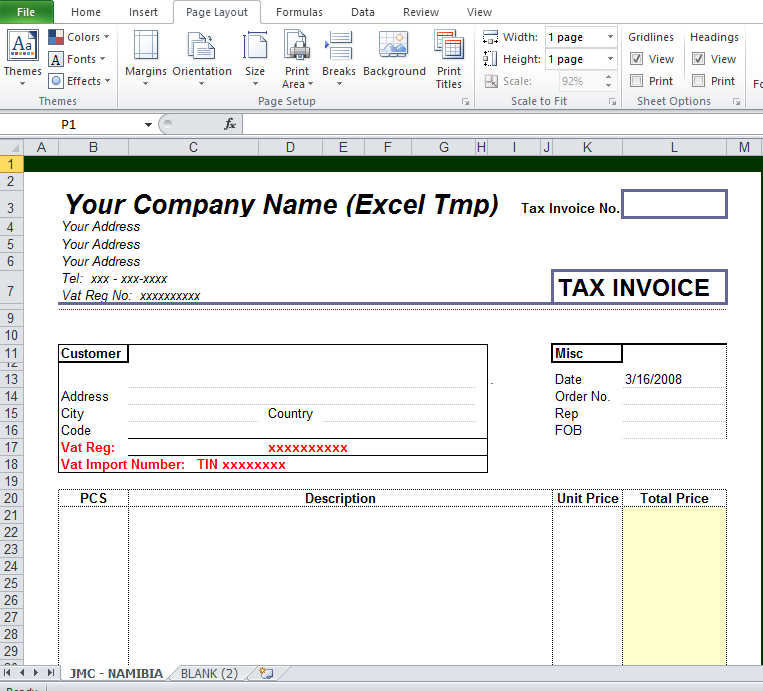 Free Tax Invoice Template Excel Word Pdf Excel Tmp Invoice Template Invoice Template Word Invoice Format