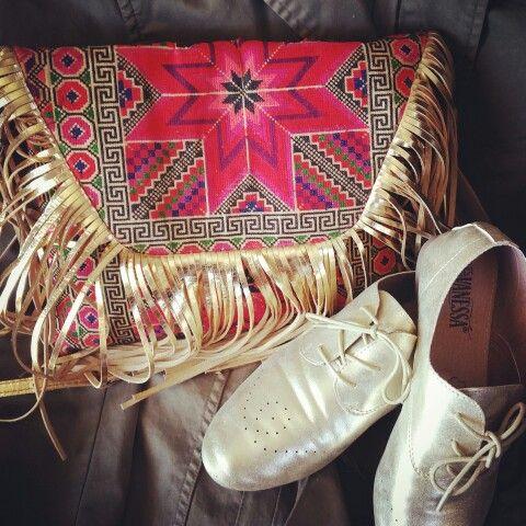 Gold accessories #derbies #colorgoldfringesbag