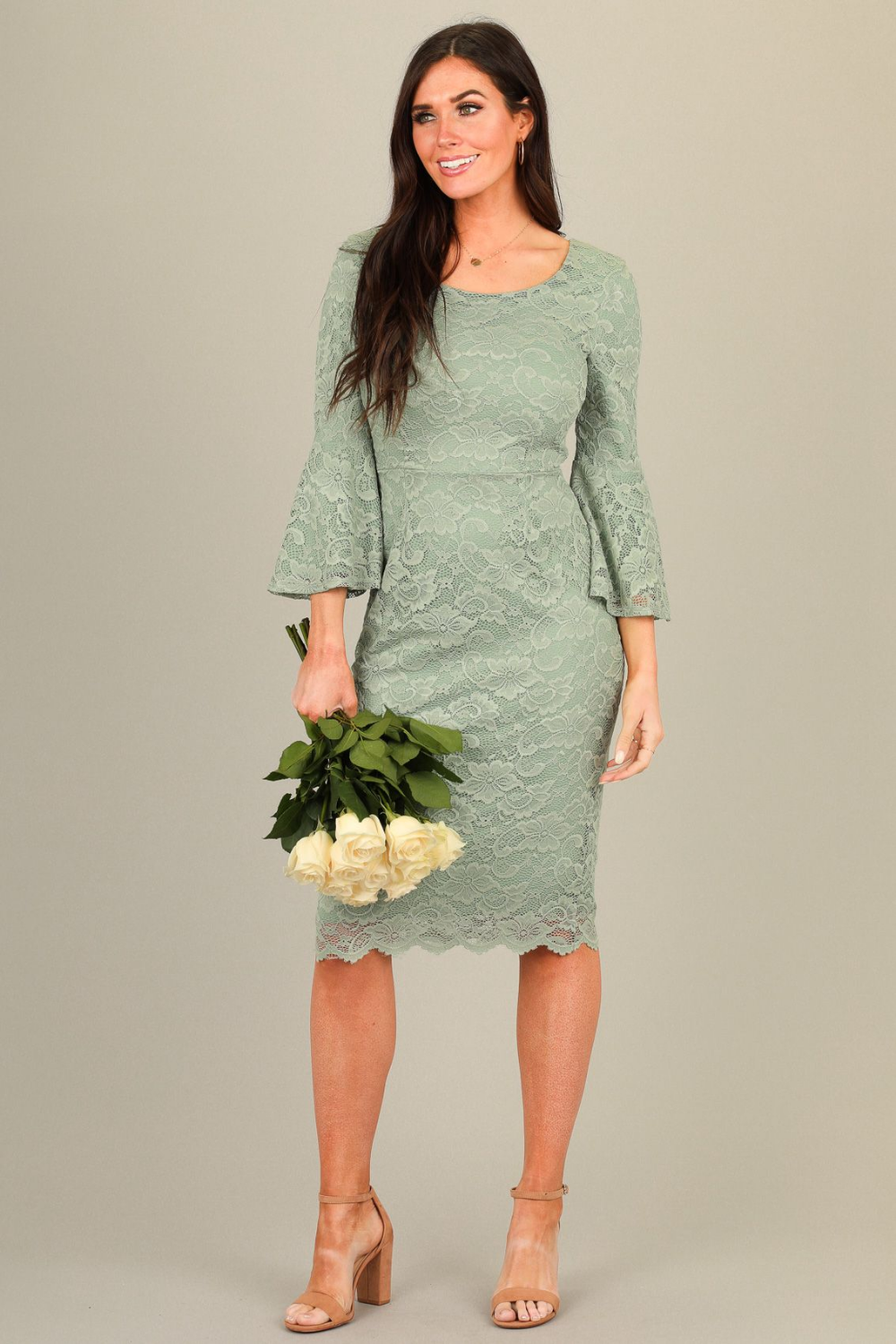 April Modest Bridesmaid Dress in Denim Blue Lace -   17 sage green bridesmaid dresses modest ideas