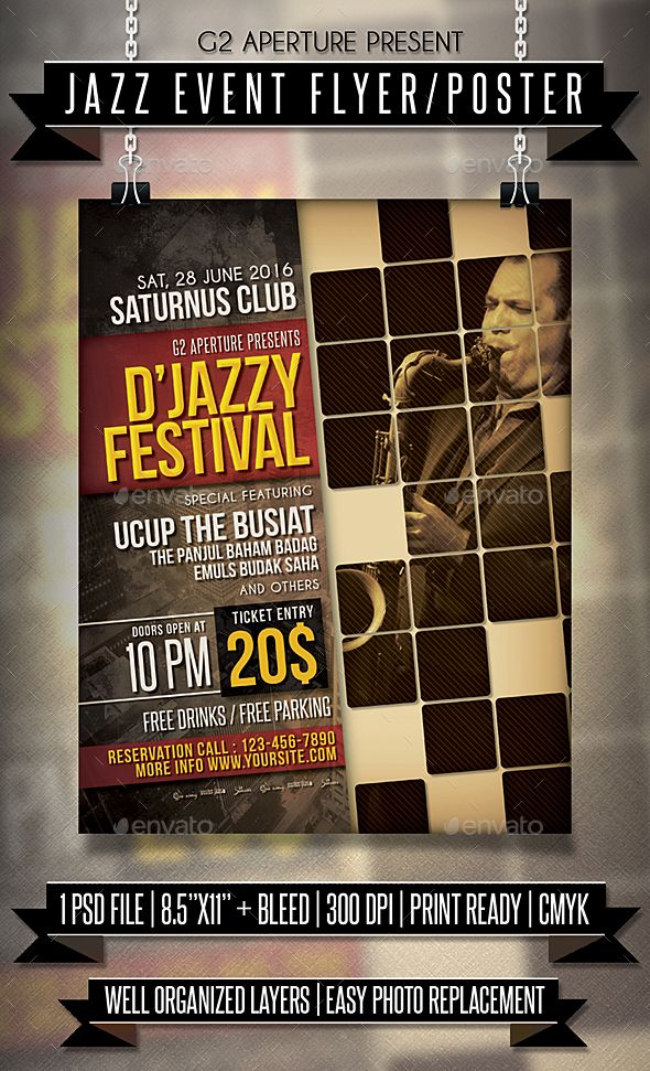Jazz Event Flyer \/ Poster Event flyers, Jazz and Template - entry ticket template