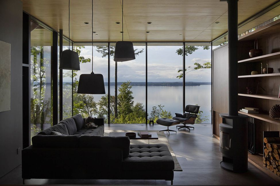 Lounge room with large windows