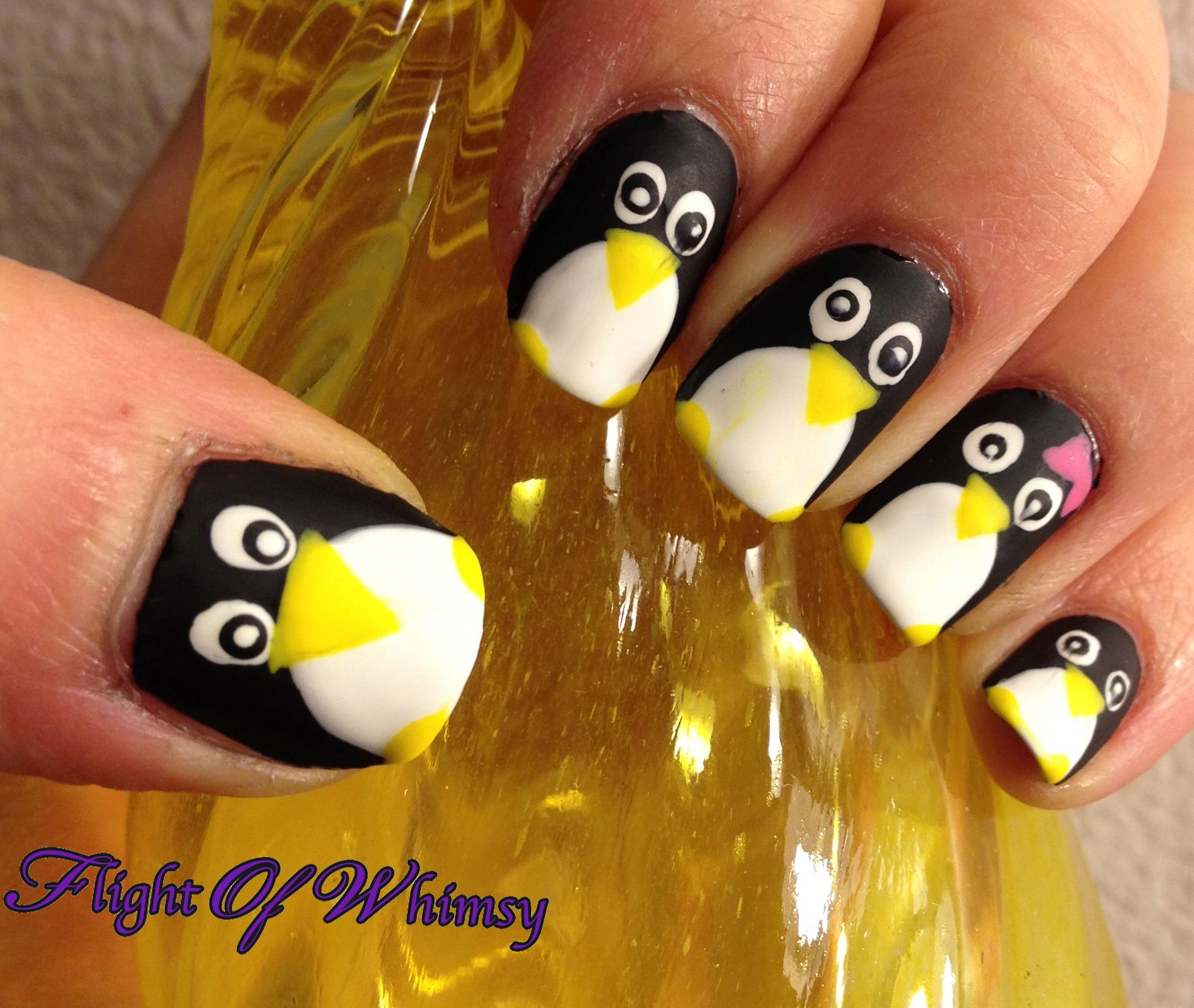 Fuzzy Penguins   Penguin nails and Penguin nail art