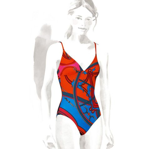 d099aa4f0ac3f Hermes one-piece swimsuit in vermilion red jersey