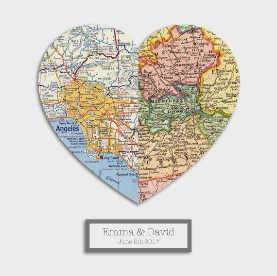 3D Personalized Map Art Custom Wedding Gift Anniversary