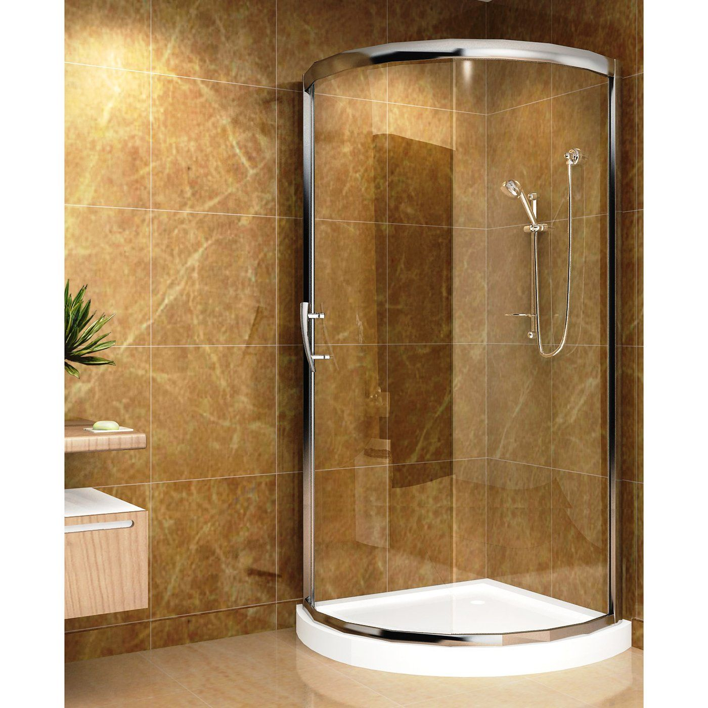 Aston Global SD908-III Round Shower Enclosure with Acrylic Shower ...