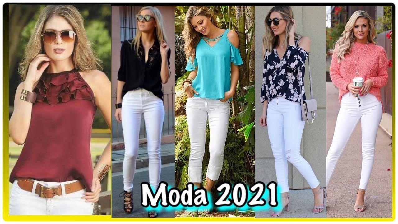 Combinaciones De Moda 2020 2021 Utilizando Unos Jeans De Moda Color Blanco Jeans De Moda Moda Pantalones Jeans De Moda