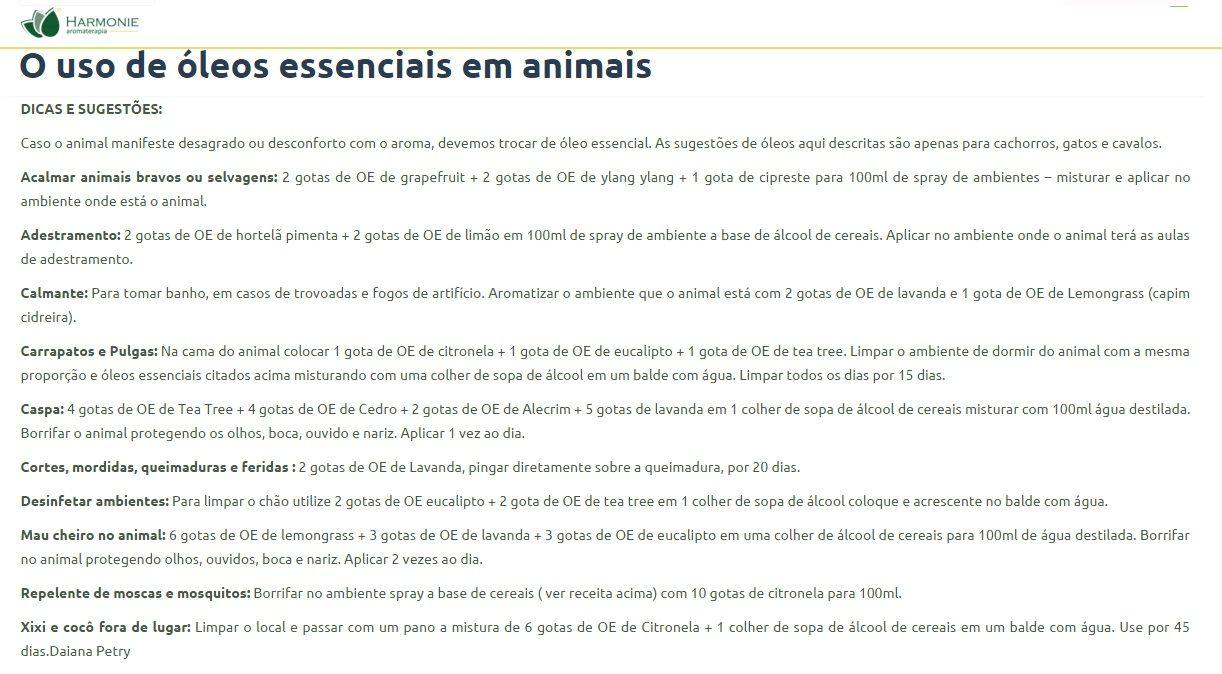 O uso de óleos essenciais em animais