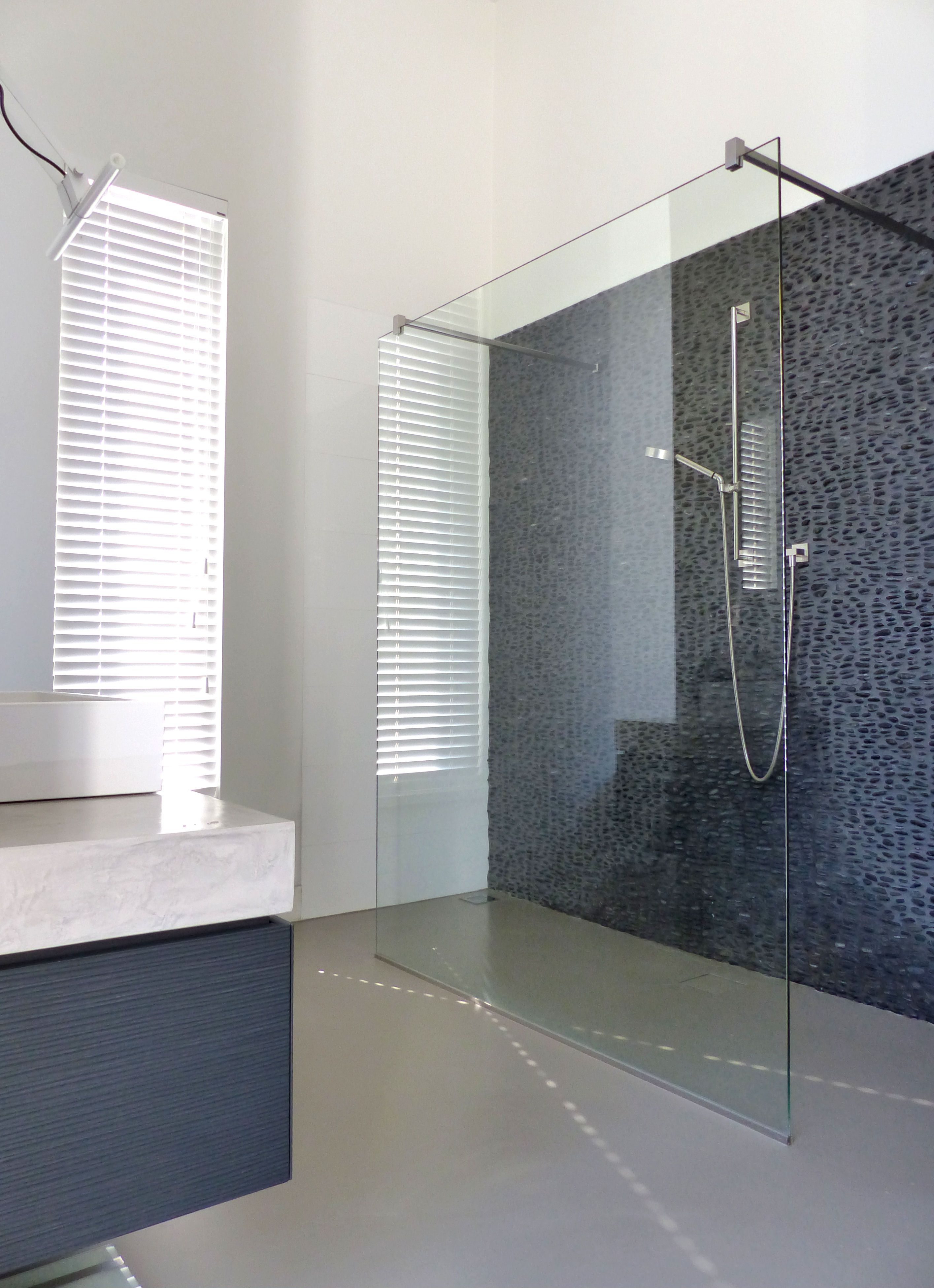 beautiful bathroom cast floor great wall with natural stones by