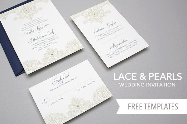 Free Template Lace \ Pearls Wedding Invitation Set Invitation - free invitation template downloads