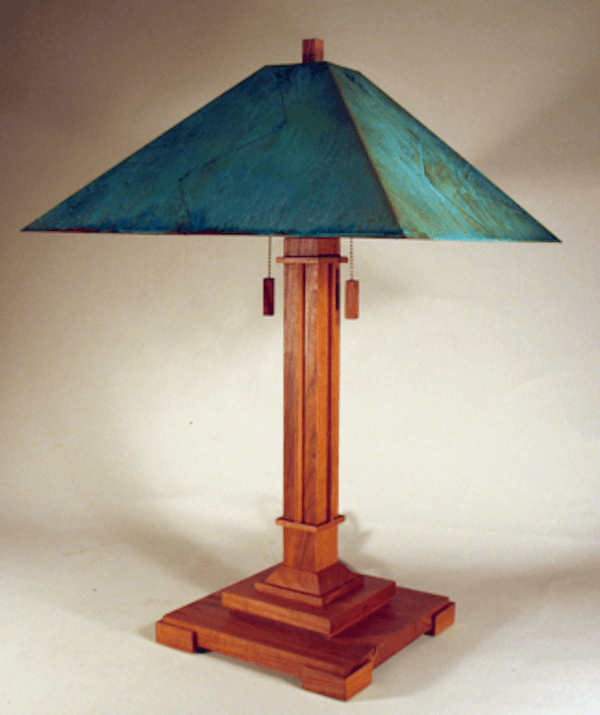"""The Pasadena Lamp Available in 22"""",26"""" and 60"""" Shown in cherry and green copper patina shade"""