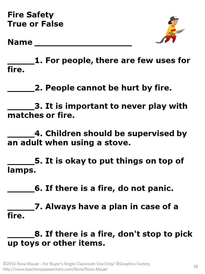 Fire Safety True Or False Task Cards  Fire Safety Stay Safe And