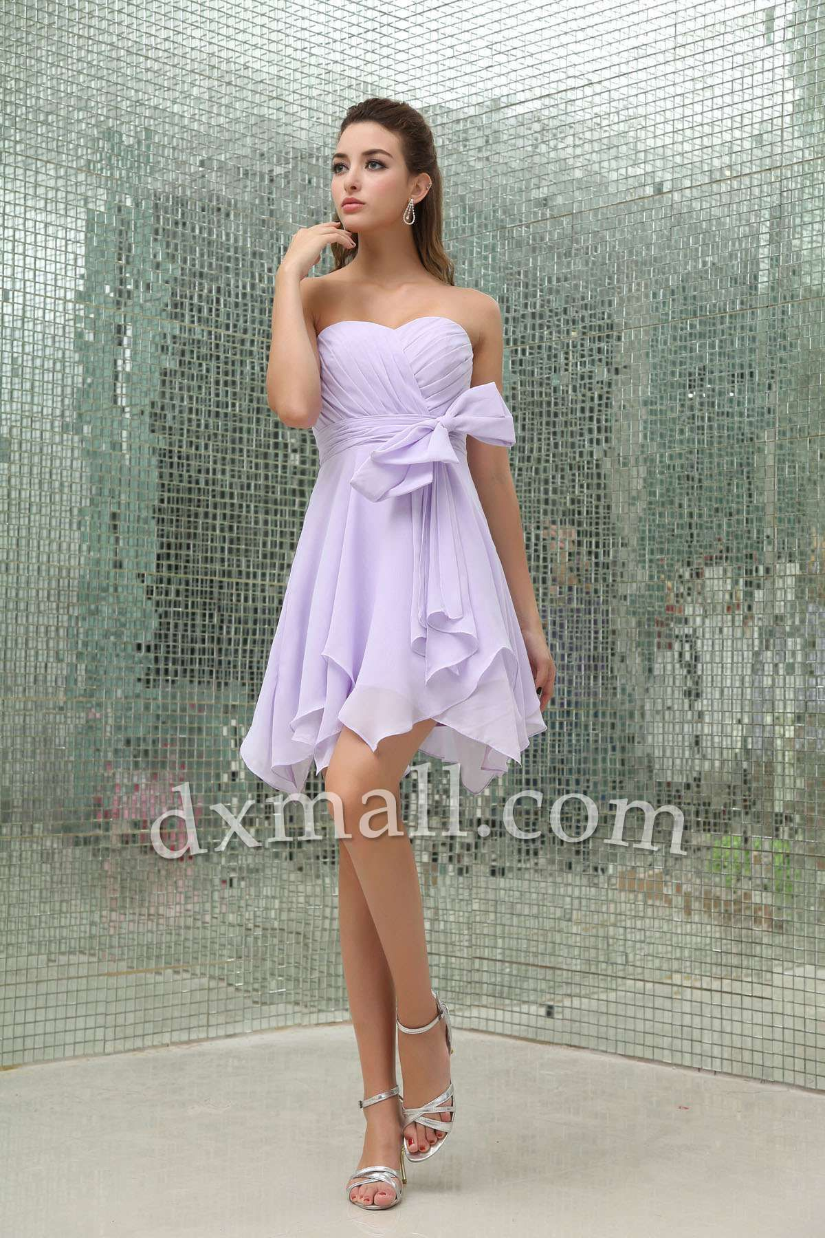 Cocktail dresses wedding  Empire Party Dresses Sweetheart ShortMini Chiffon Lavender