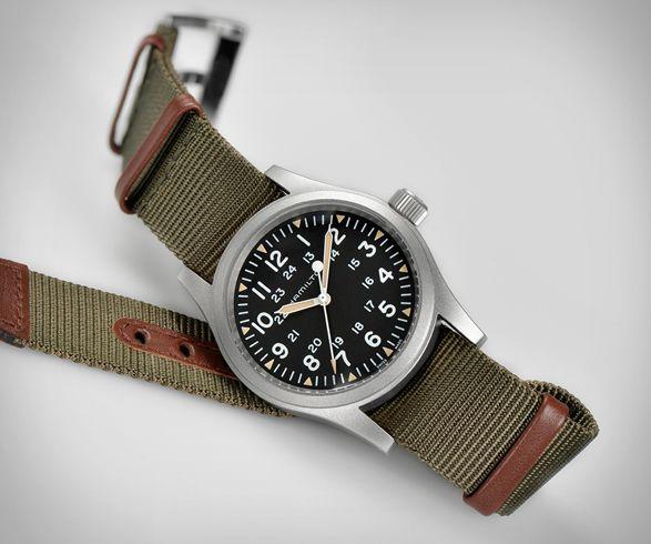 Hamilton Khaki Field Mechanical Watch Hamilton Khaki Field Automatic Watches For Men Mens Watches Leather Black