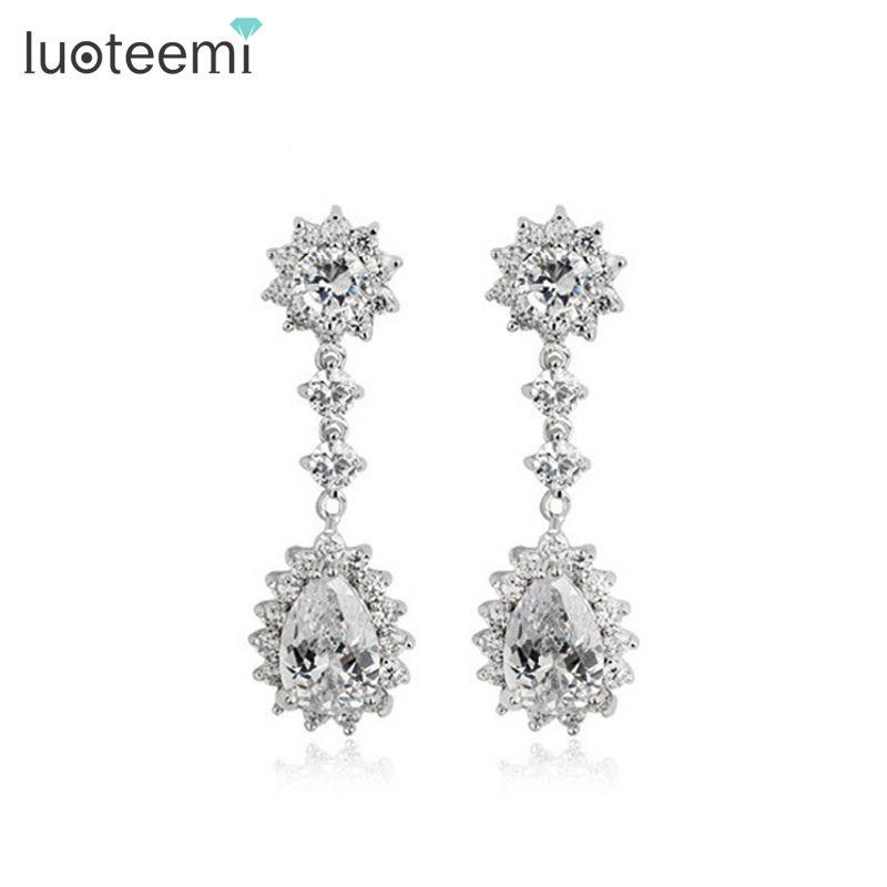 Luoteemi Elegant Style Women Clear Aaa Cubic Zirconia Dangle Earrings For Y Lady Evening Party Dress