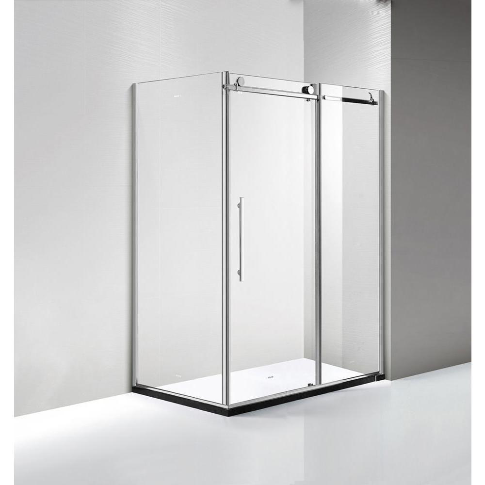 Dreamwerks 60 in. x 79 in. x 36 in. Luxury Frameless Sliding Shower ...