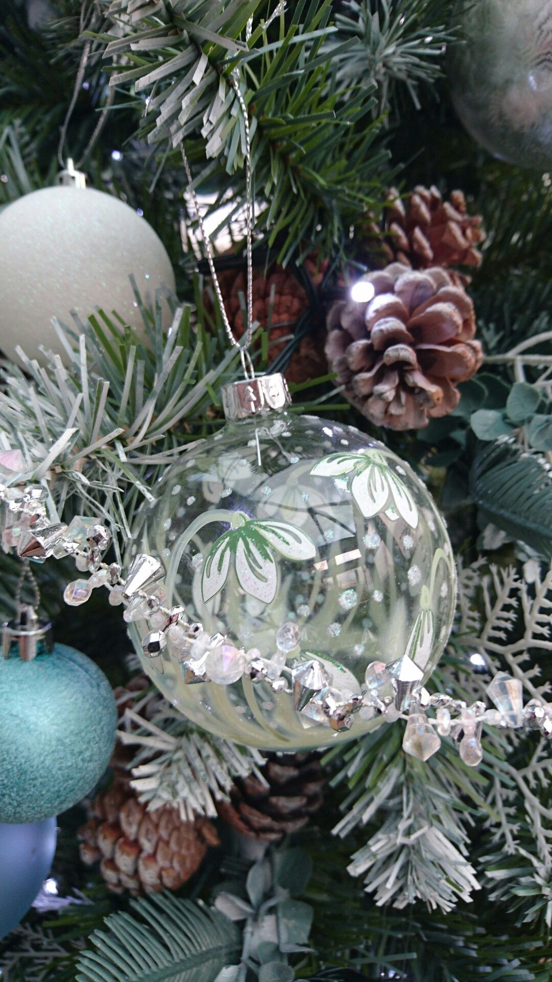 christmas decorations white silver glass blue green aqua - Green And Silver Christmas Decorations