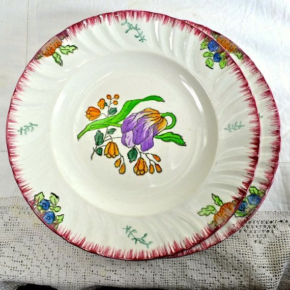 2 French Longwy Dinner Plates Hand Painted by FeltersCottage  sc 1 st  Pinterest : dinner plate in french - pezcame.com