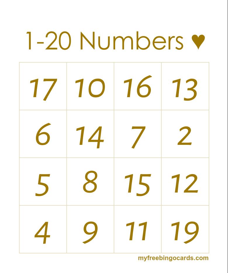 1 20 Numbers Bingo Preschool Valentines Day Themes Free