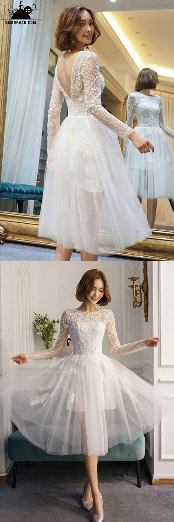 Chic short seethrough tulle vback short wedding dress with beading