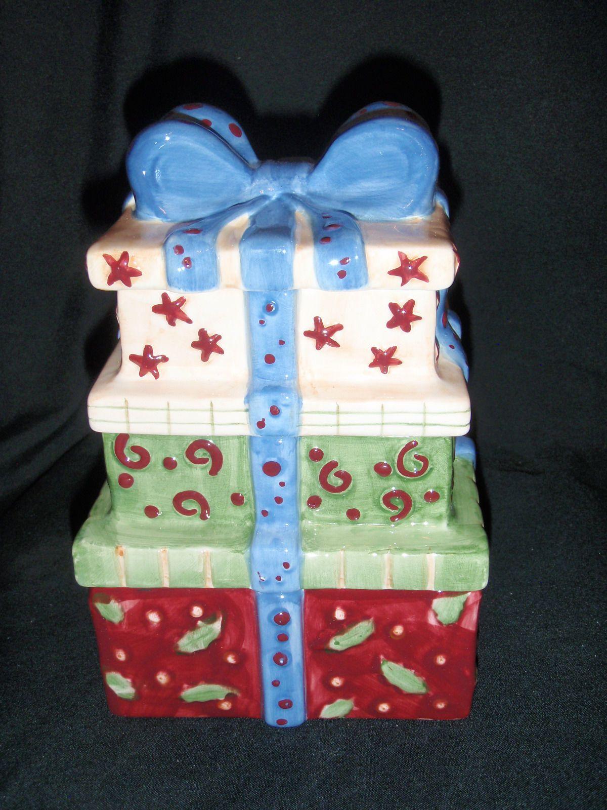 Ceramic Christmas Three Tier of Gifts Cookie Jar.