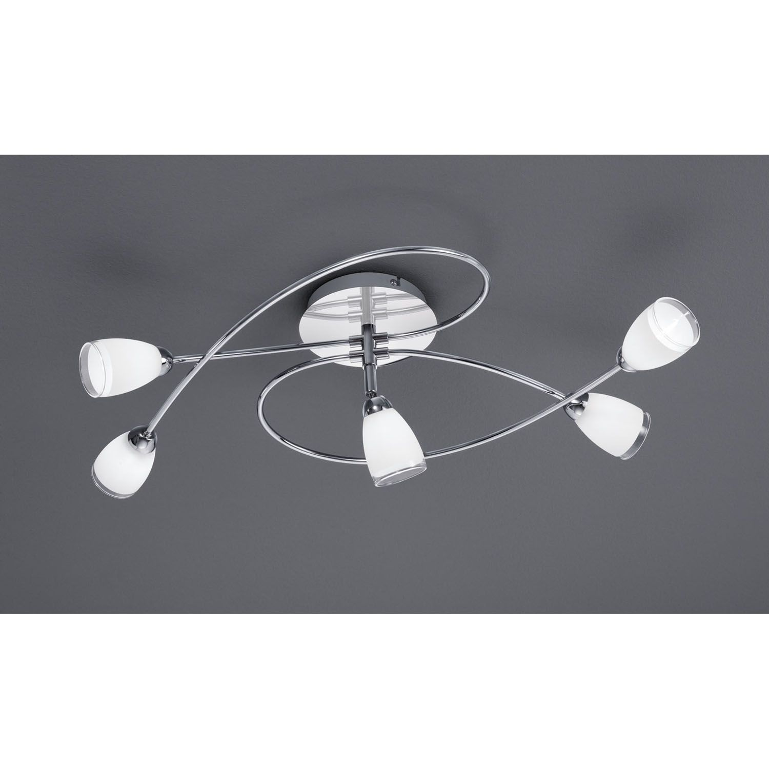 Trio Lighting 5 Light Led Ceiling Spotlight With Satin Glass