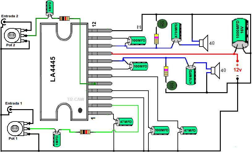 Circuito Bluetooth Casero : El circuito integrado la es un pequeño amplificador
