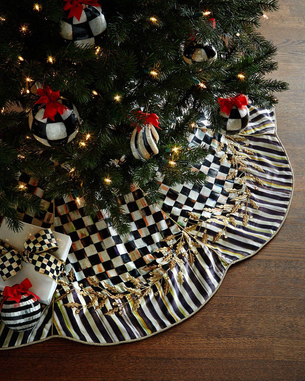 Mackenzie Childs Christmas Ornaments.Mackenzie Childs Golden Laurel Christmas Tree Skirt