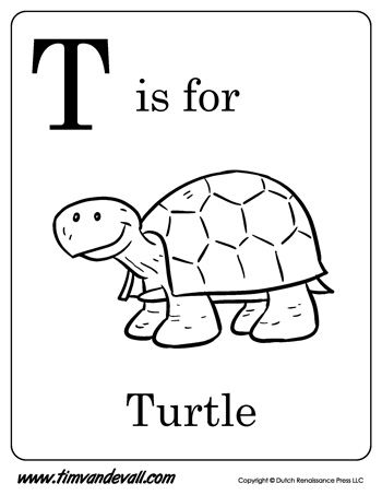 T is for Turtle Letter T Coloring Page Alphabet Book Black