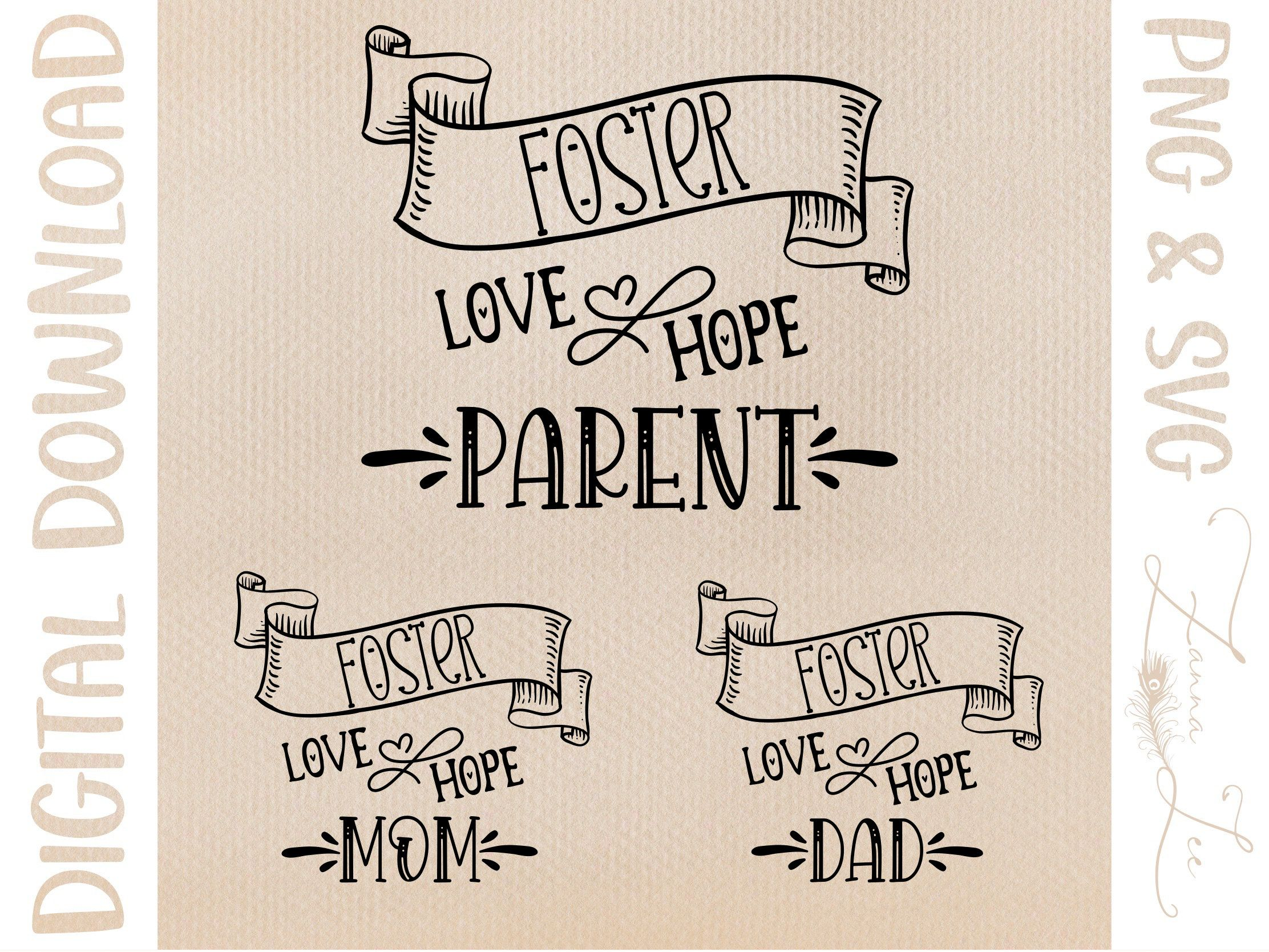 Foster Love Hope Parent Family Mom Dad cut file svg for Cricut Silhouette