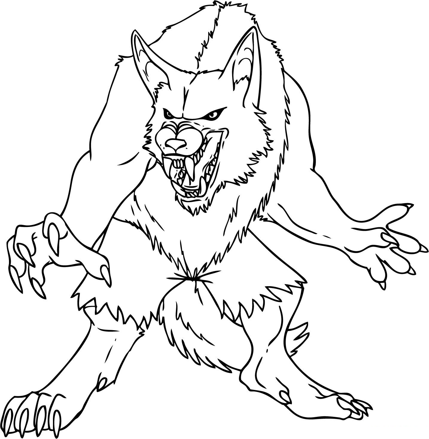 werewolf coloring pages kids coloring pages free printable - Halloween Werewolf Coloring Pages