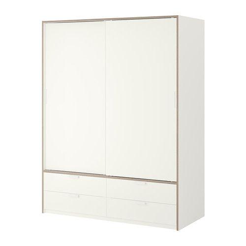 TRYSIL Schrank mit Schiebetüren/4 Schubl. - weiß/hellgrau - IKEA ...