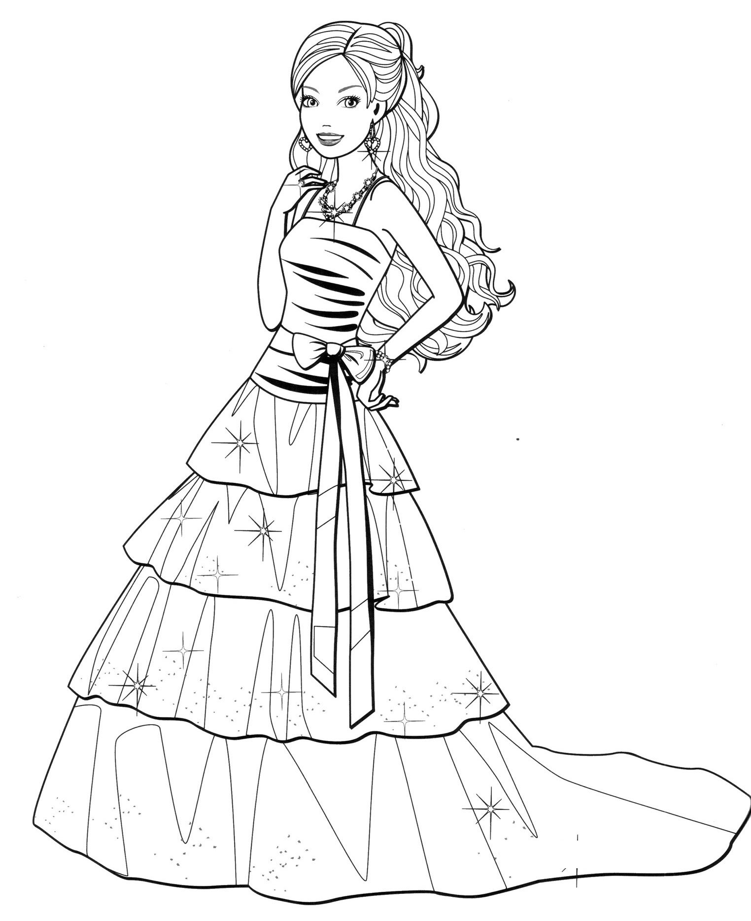 Fashion Dress Coloring Pages For Your Little Girls Barbie