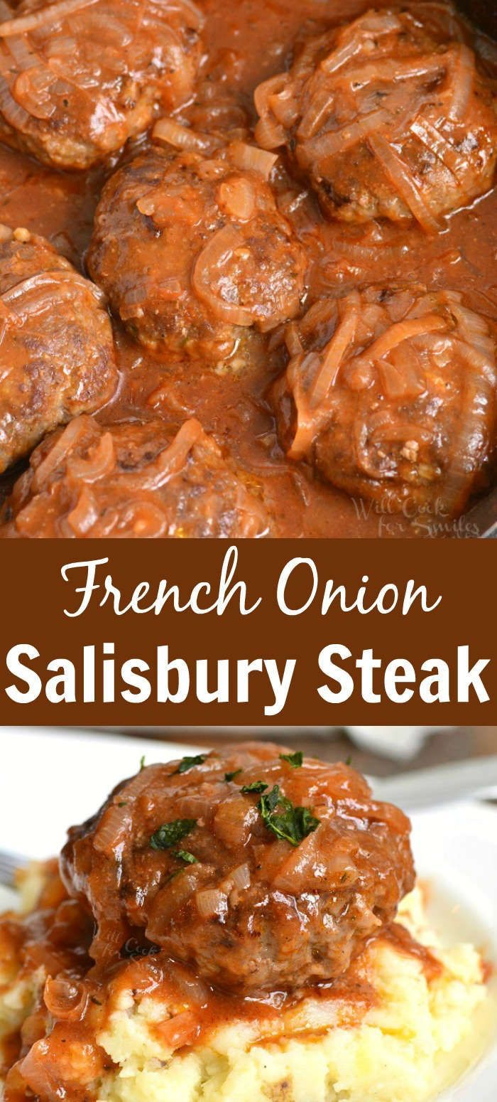 French Onion Salisbury Steak. This is a wonderfully comforting dish of juicy Salisbury Steaks cooked in homemade French Onion sauce. The sauce is so flavorful from stewed onions in red wine, tomato paste, and beef stock. #beef #groundbeef #salisburysteak #frenchonion #beefdishes