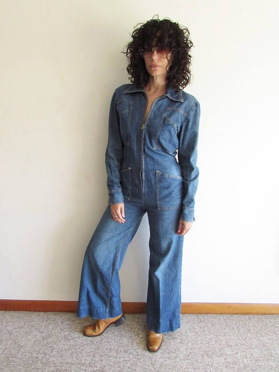 63307c4f4841 Vintage 70s UFO Denim Wide Leg Bell Bottom Jumpsuit