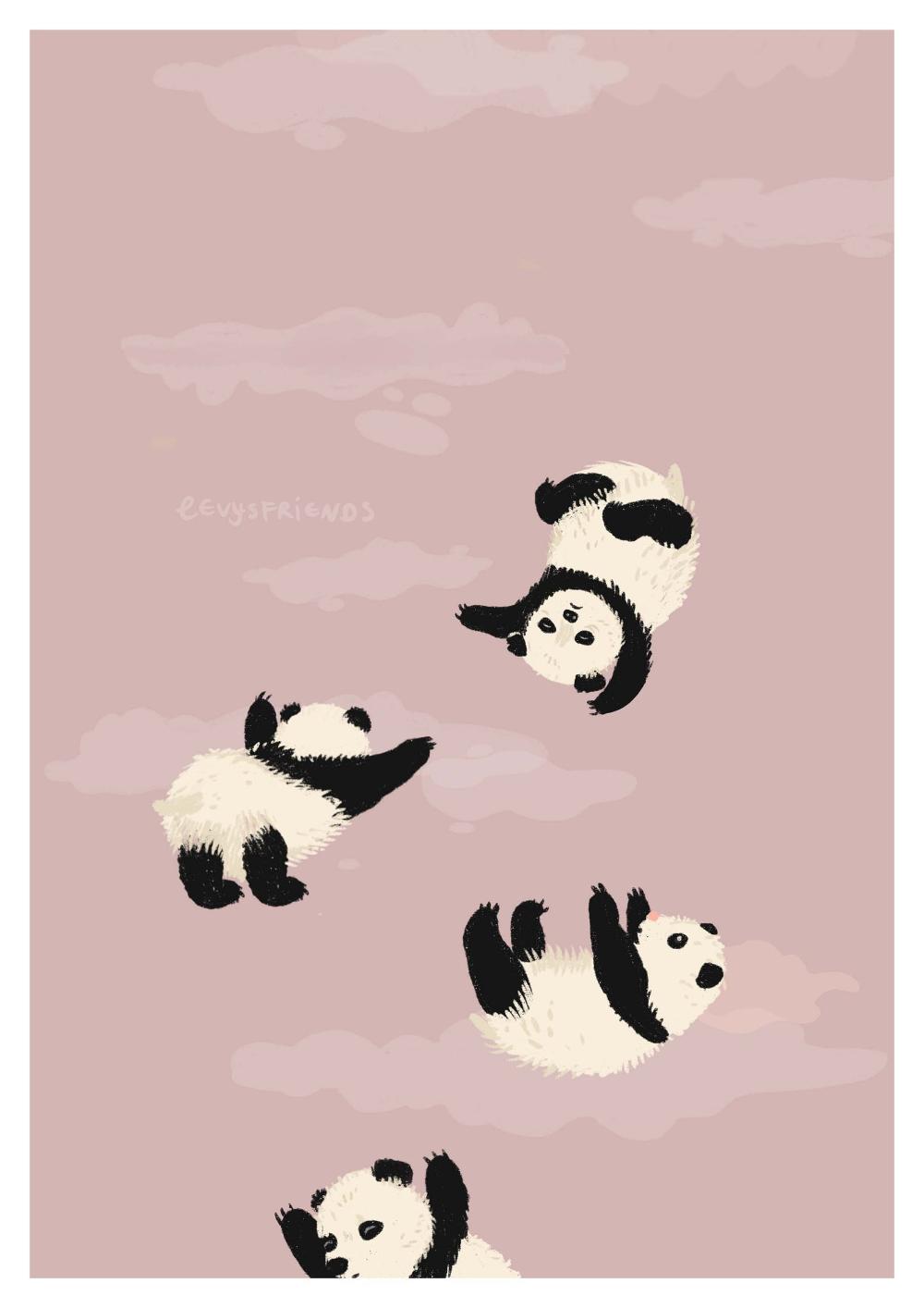 Panda Art Print Panda Illustration Panda Wall Art Panda Drawing