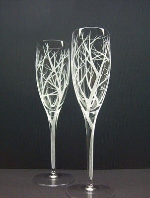 White tree champagne glasses for a LOTR wedding.