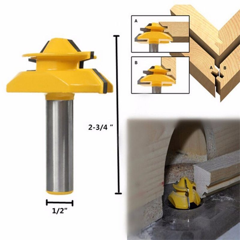 45 Degree 1//4/'/' Shank 1-1//2/'/' Small Lock Miter Router Bit Tenon Cutter Tools