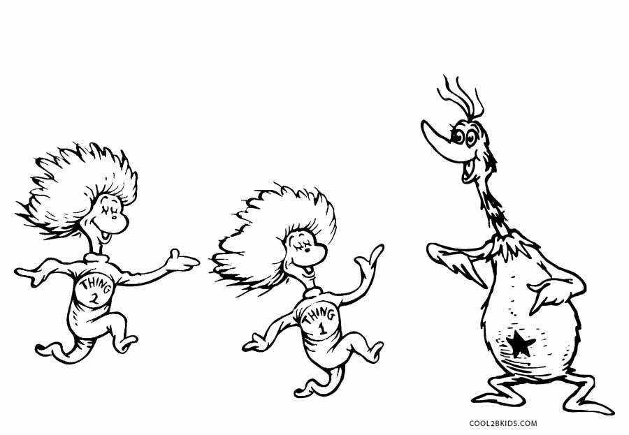 Thing One And Thing Two Coloring Pages Collection Dr Seuss