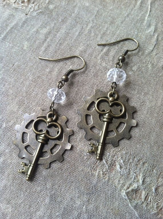 Steampunk Earrings Gear And Key by LithiasCreations on Etsy