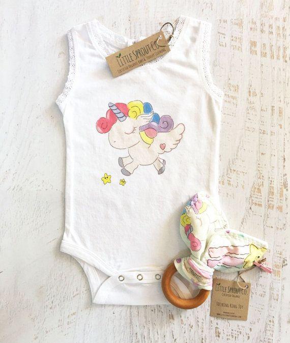 Baby Girl Unicorn Bodysuit Organic Lace Tank Bodysuit Teething