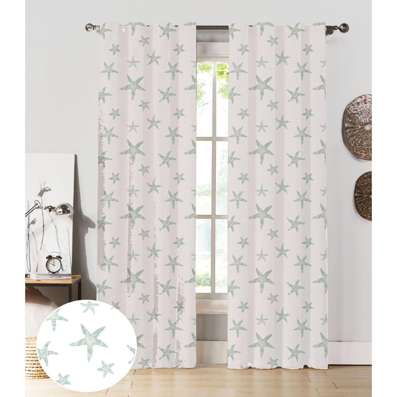 NECR Custom Print Starfish Curtain Panel U0026 Reviews | Wayfair Pale Blue  $45.90