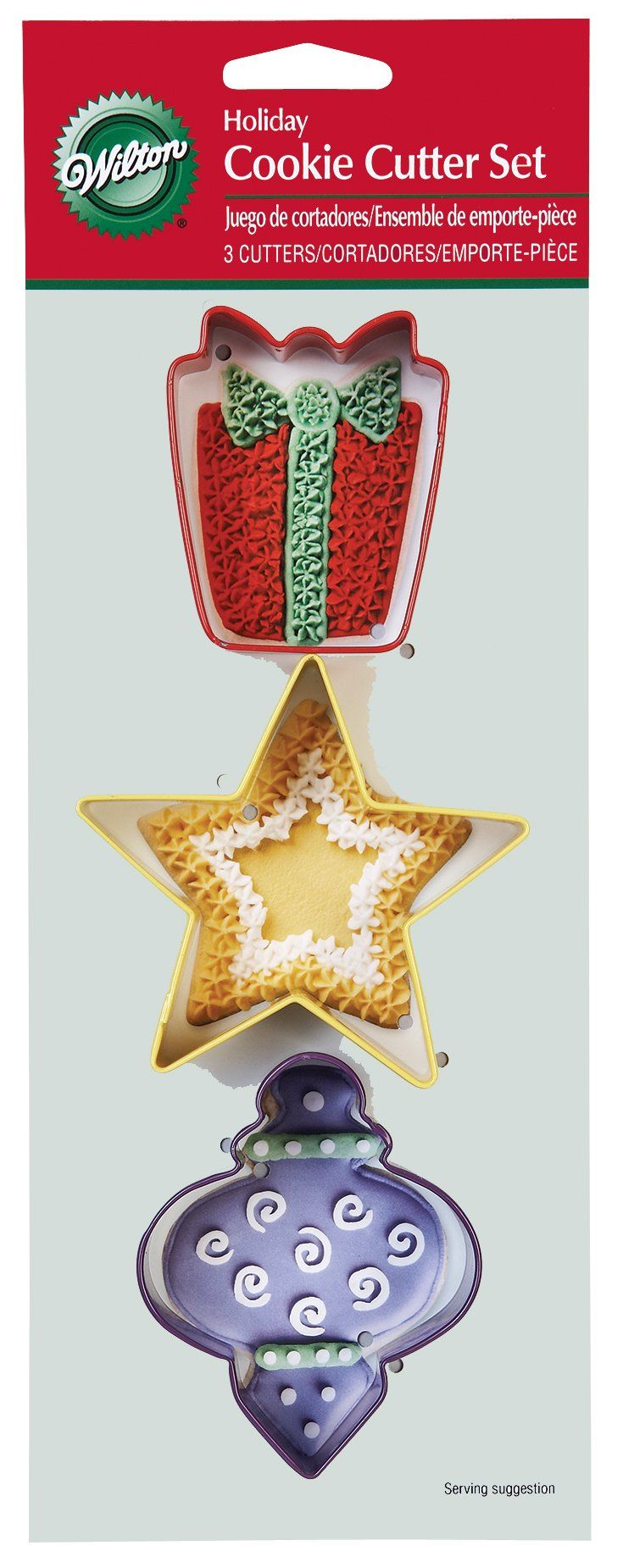 "Wilton Holiday Cookie Cutter 3 Piece Set: 2.5"" x 2"" gift, 3.25"" x 3.5"" star and 3"" x 2.5"" ornament"