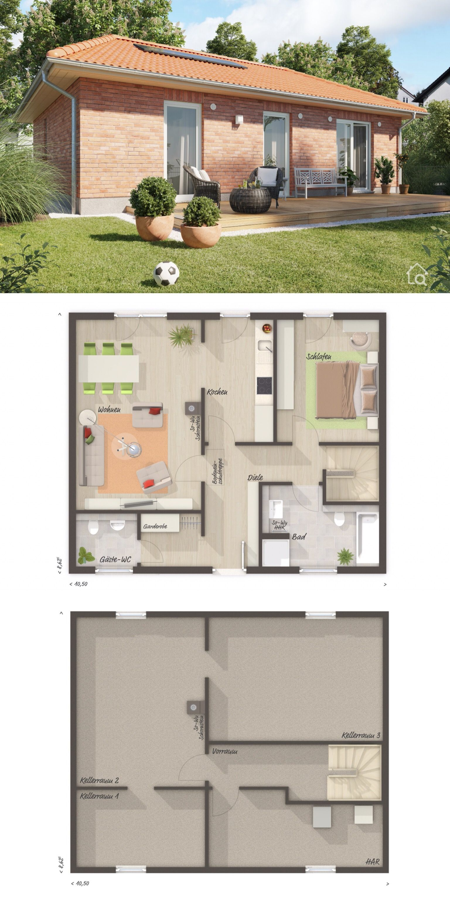 Bungalow Haus Grundriss klein für 2 Personen mit Walmdach