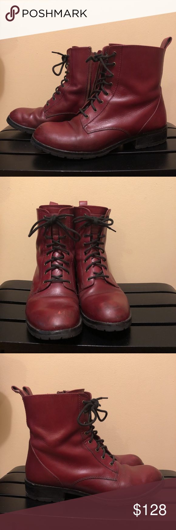 red leather work boots